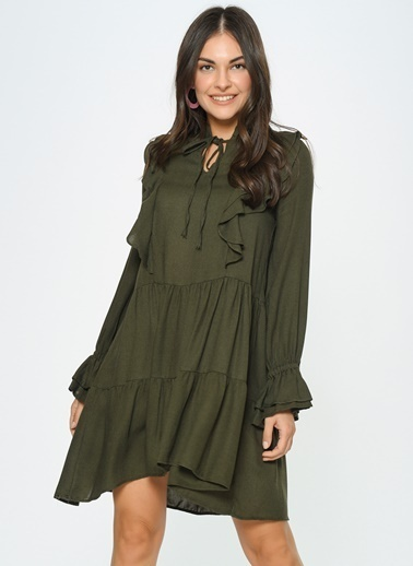 Loves You Fırfır Detaylı A Shape Katlı Flanel Elbise Haki
